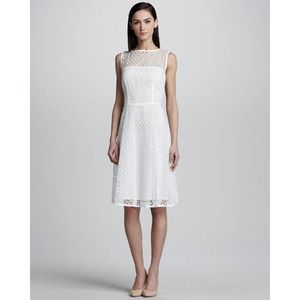Escada Lace White Dress Fitted Bodice A Line US 8
